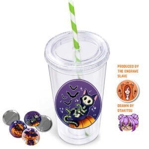 Tumbler-Candy-Straw-Lime-Green with badges
